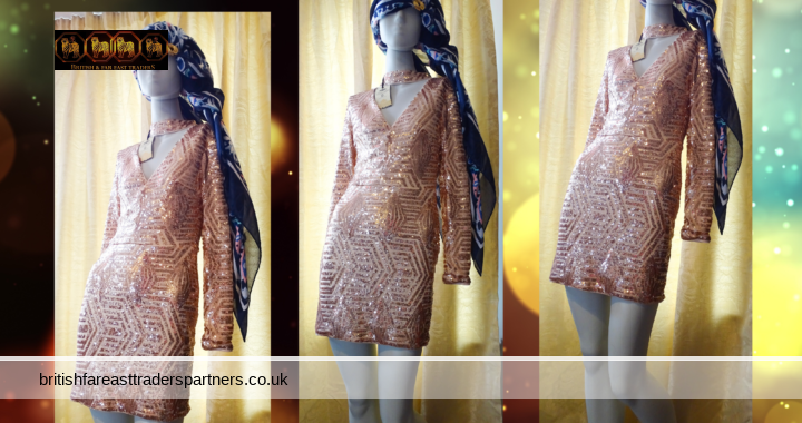 BNWT PARISIAN COLLECTION HANDMADE Ladies Dress UK 8 Pink/Rose Gold Sequin Mini COCKTAIL PARTY Dress