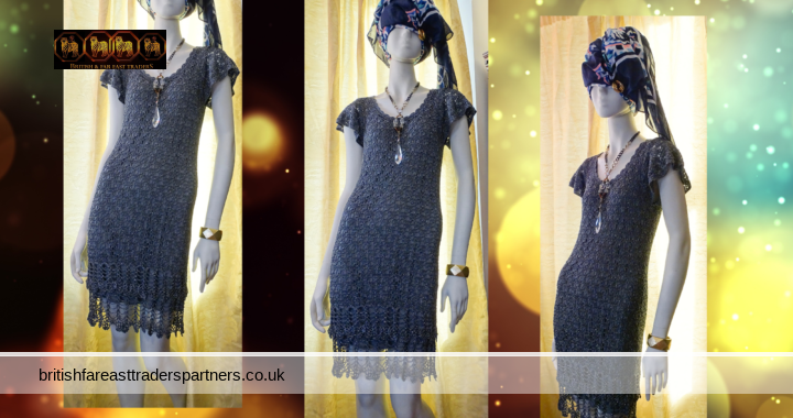Grey OASIS Belle 1920s Gatsby Flapper Downton Deco Crochet Silver Threading PARTY BALL COCKTAIL Dress  UK S VGC