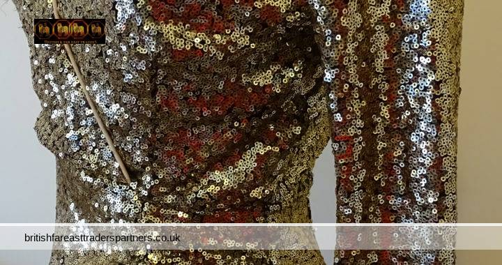 FASHION INSPIRATION: GOLD SEQUIN WRAP RUCHE PARTY/ NIGHT OUT DRESS BOOHOO UK 8 EUR 36 US 4