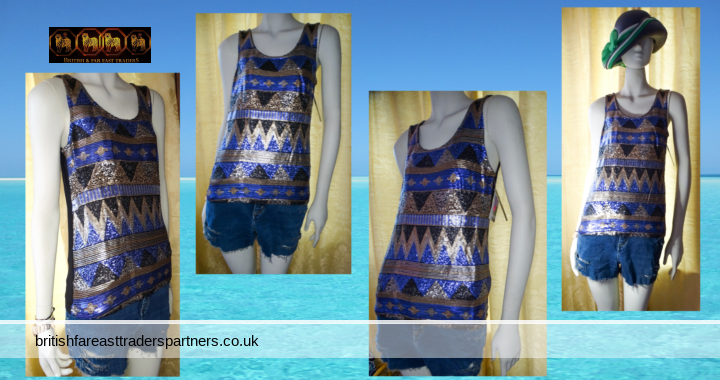 LADIES / WOMEN'S SUMMER VEST TOP AZTEC GEOMETRIC DESIGN BLUE / BLACK / GOLD SMALL SEWN SEQUINS SIZES: CHICO / SMALL MEDIO / MEDIUM  GRANDE / LARGE EXTRA GRANDE / EXTRA LARGE NEW WITH TAGS (NWT)