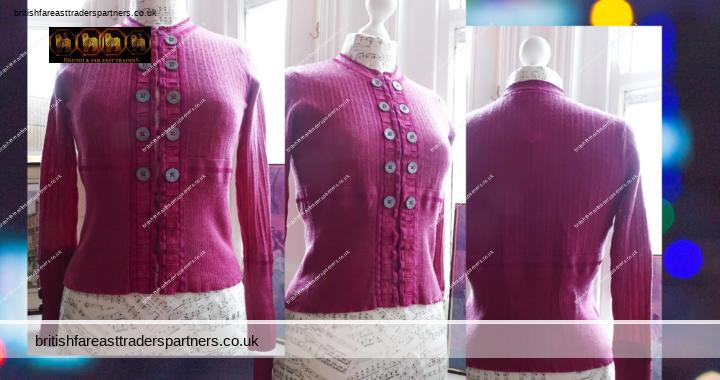 KAREN MILLEN Ladies' Womens' UK Size 2 Fine Knit SEXY Wool Blend Magenta Wine Cardigan VGC