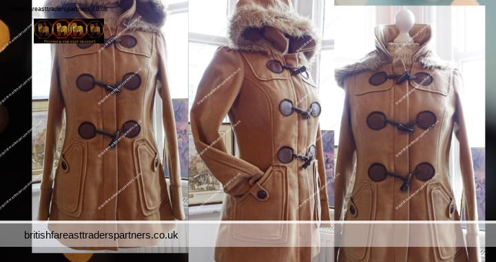 NEW LOOK Ladies' Women's Corduroy Effect Brown Faux Fur Hoodie Duffle Coat UK Size 8 VGC