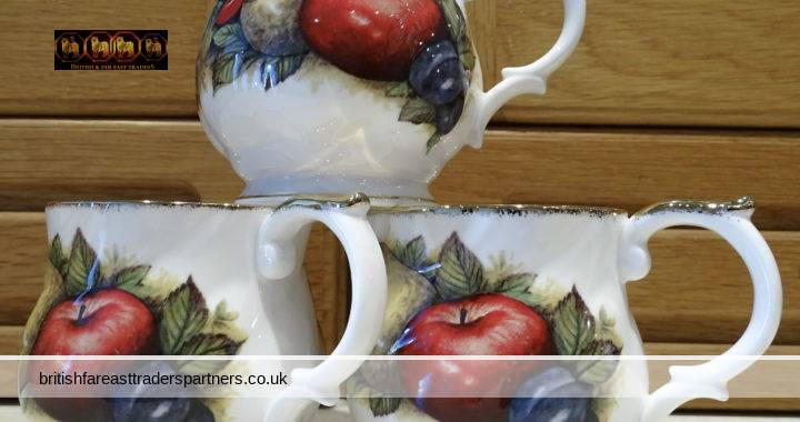 COLLECTIBLE BRITISH CERAMICS: VINTAGE Queen's CHURCHILL  Fine Bone China Cups  Antique Fruit Collectible