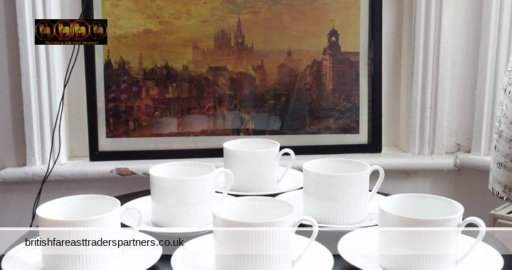 WHITE & CLEAN Arzberg Germany 6 Pcs SET Ribbed Coffee Cup / Tea Cup & Saucers VGC