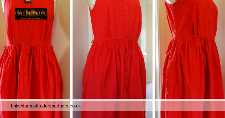 VINTAGE-Inspired St Michael Red RETRO Button Down Sleeveless SUMMER Holiday MAXI Dress  UK 12 Long  100% COTTON RARE ITEM