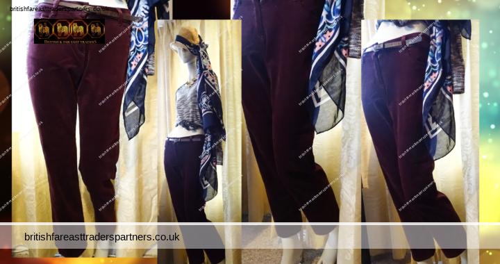 Ladies Women's BURGUNDY MARKS & SPENCER Straight Leg Fine Corduroy UK 10 SHORT VGC