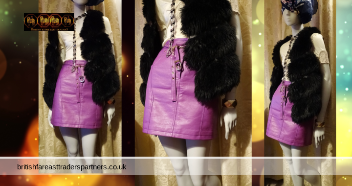 NWT ASOS DESIGN Magenta Leather Look  Mini SKIRT Chain Belt Accent / Accessory  PARTY COCKTAIL UK 12 / EU 40 / US 8