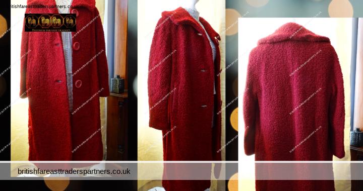 VINTAGE HANDMADE Women's Ladies' Tweed Wool Red Heavy WINTER Coat UK 16 18 20