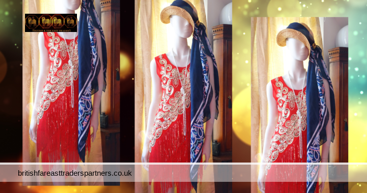 RED GOLD CHARLESTON Flapper Gatsby Art Deco Embellished Party Cocktail Dress