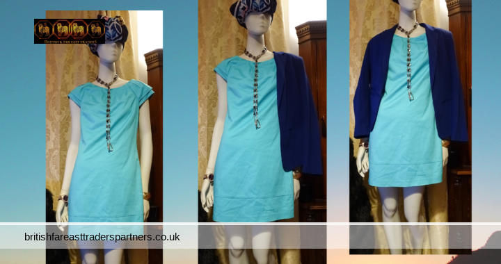 OASIS Turquoise Aqua Blue Shift Dress Lined COMFY WORK WEEKEND CASUAL UK 8 VGC