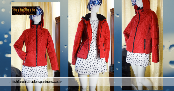 Ladies' Women's RED Padded Quilted Hooded Shower Proof Jacket Faux Fur Collar UK 12 VGC