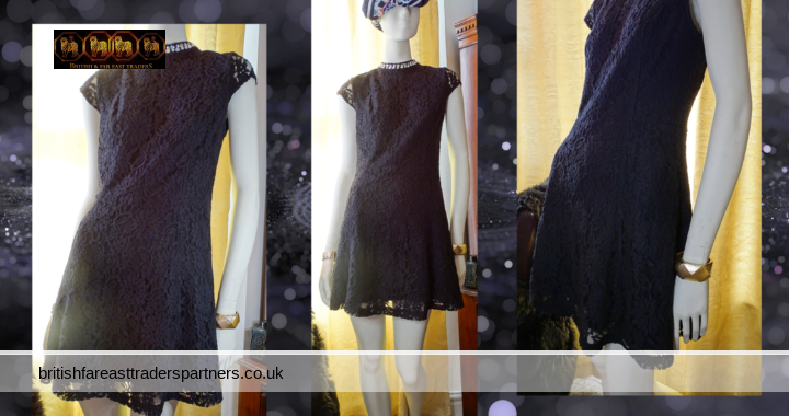 VINTAGE INSPIRED Ladies' Women's BLACK SUPERDRY Lace and Diamante Lined Skater Dress Size XS