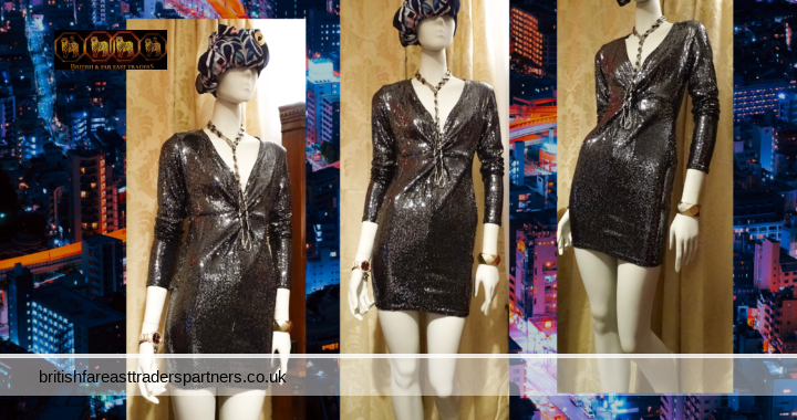 NEW LOOK SILVER Go SEQUIN Twist Knot V Neck Long Sleeve PARTY COCKTAIL Bodycon Dress UK 12 / EU 40 / USA 8/ CN 170/92A