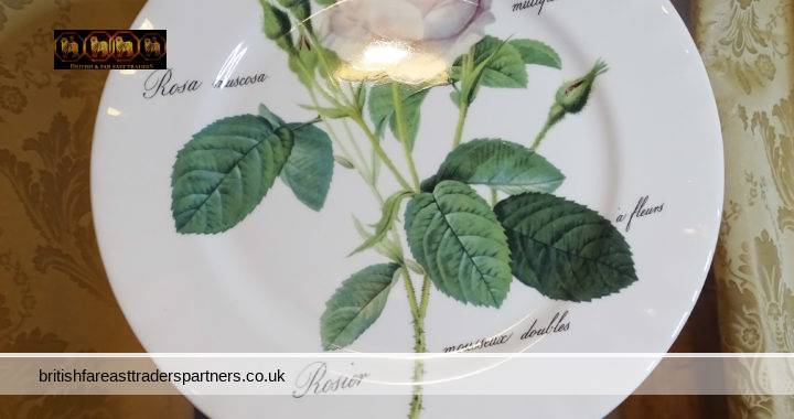 VINTAGE ROY KIRKHAM Redoute Roses Large Dinner / Decorative Plate FINE BONE CHINA MADE IN ENGLAND 1996