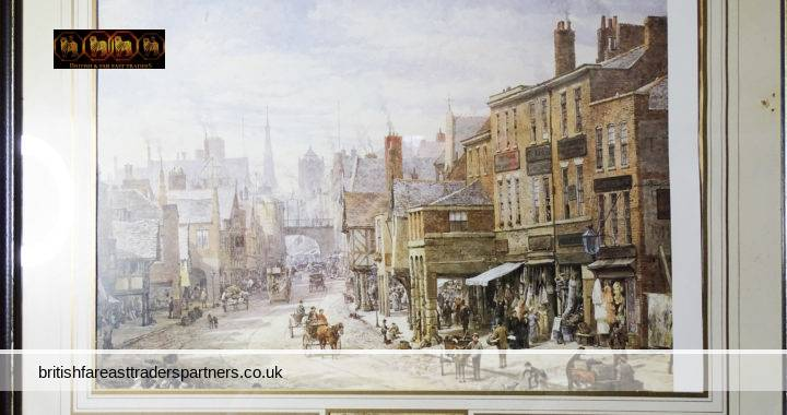 VINTAGE FRAMED PRINT OF AN EARLY ENGLISH TOWN SCENE FEATURING HORSE-DRAWN CARRIAGES, SHOPS, PERIOD FASHION, AND PEOPLE GOING ABOUT THEIR DAILY BUSINESS