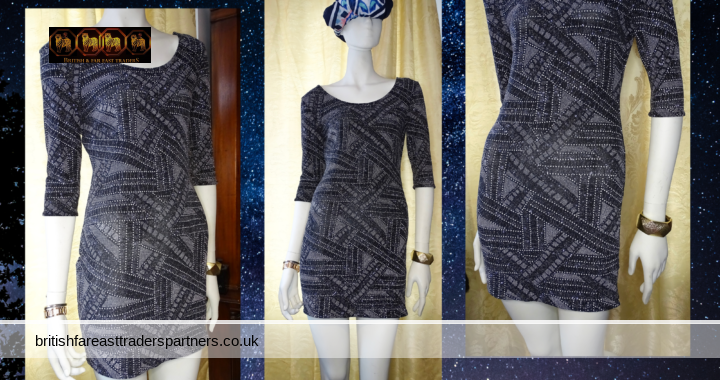 BLACK SILVER Sparkly Glitter Bodycon Party/Cocktail Dress Atmosphere UK 12 VGC
