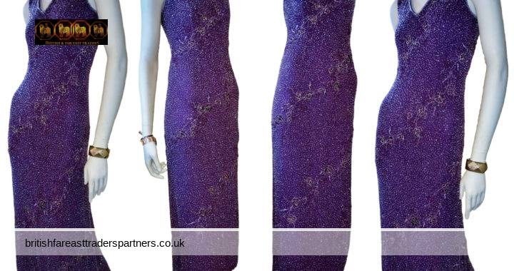 MONTAGE COLLECTION  by MON CHERI  PURPLE WINE  Fit & Flare LONG Dress Heavily Beaded  Formal Evening Gala Gown UK 6 Petite FORMAL | OCCASION DRESSES | SPECIALTY DRESSES