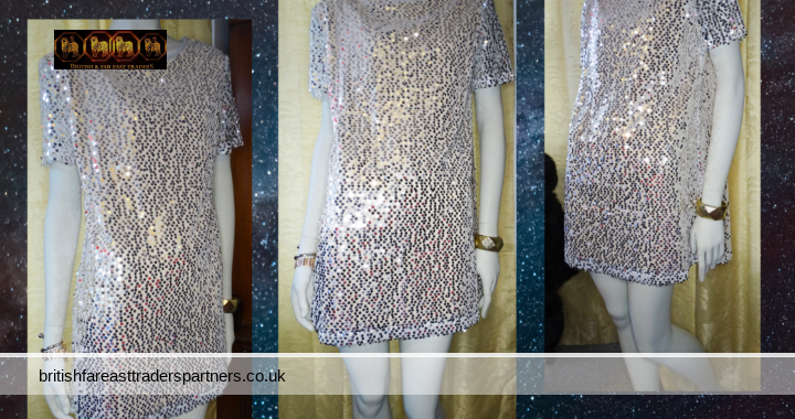 SILVER Sequins Mini Dress Short Sleeved In The Style PARTY/COCKTAIL CRUISE DINNER Size 10 NWT