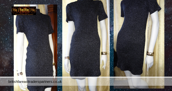 SELECT Black Silver Sparkly Rib Stretch Jumper Knit Dress Party Dinner UK 12 EURO 40 VGC