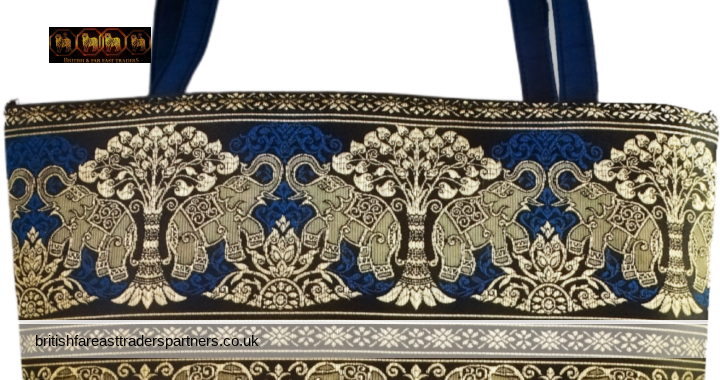 VINTAGE STUNNING BLUE and GOLD ELEPHANT & TREES Print Fabric Zipped BAG CASUAL | HOLIDAY | ETHNIC | FASHION