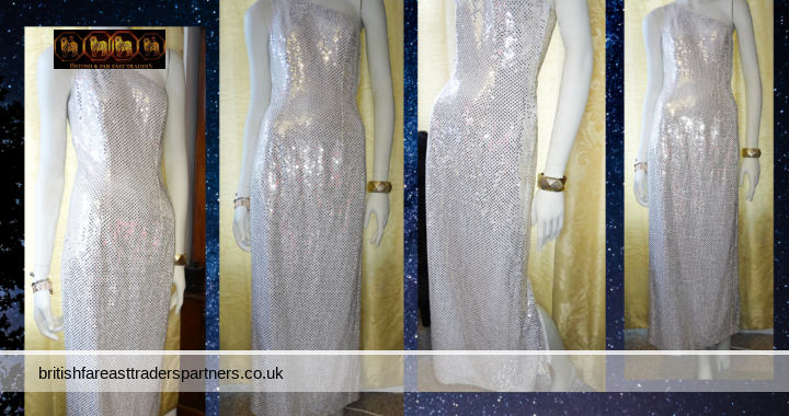 VINTAGE All That Jazz A CHORUS LINE COMPANY GRECIAN Goddess Column Silver Sequin & Sparkly Threads Party Cocktail Gala Formal Cruise Evening Dinner Dress US 6 UK 8-10 VGC