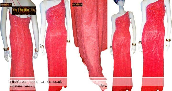 VINTAGE Alyce Designs Coral Grapefruit Pink Orange GRECIAN Goddess Heavily Beaded / Embellished Prom Gala Formal Evening Ball Gown Size 8