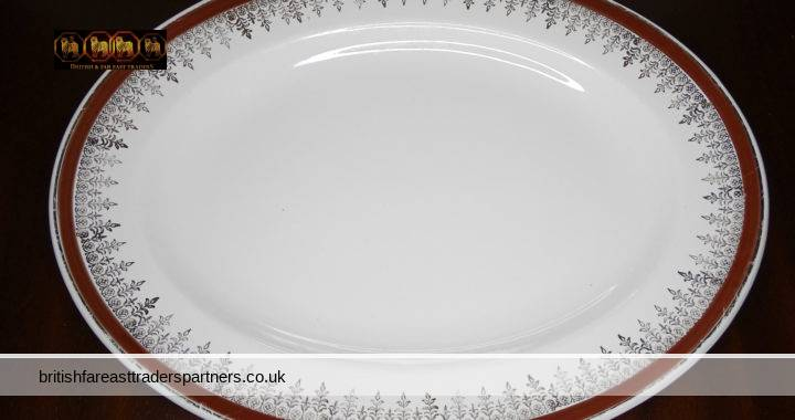 VINTAGE ALFRED MEAKIN ENGLAND ROYALTY / CROWN GLO-WHITE IRONSTONE ENGLISH CHRISTMAS FESTIVE DINNERWARE SERVING PLATTER DISH CIRCA 1945