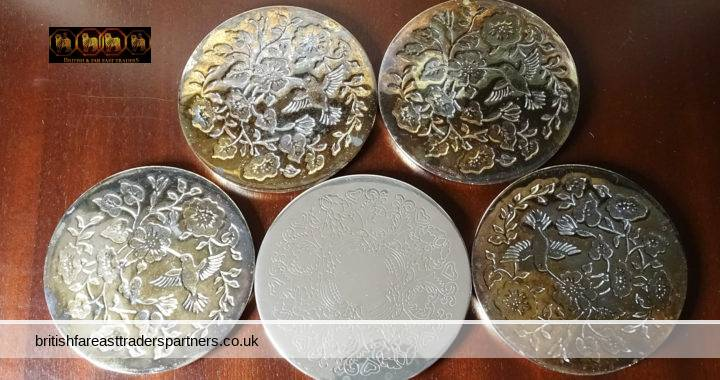 VINTAGE Mixed Lot of 5 Polished Silver Plated / Brass Metallic Coasters Florals + Bird Designs Approx. 9 cm Diameter