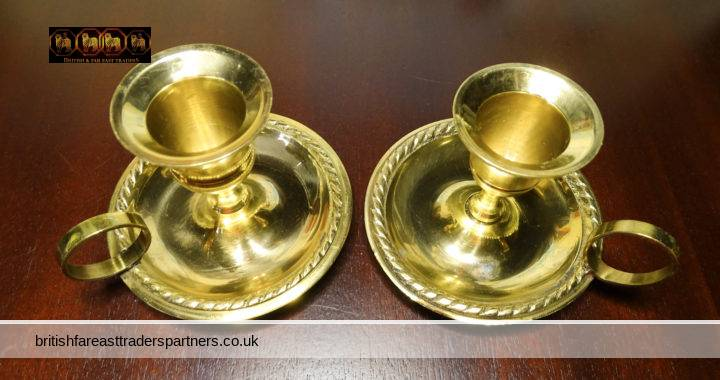 VINTAGE VICTORIAN ENGLISH Beautiful Pair GOLD PLATED Brass Chamber Stick Candle Holder