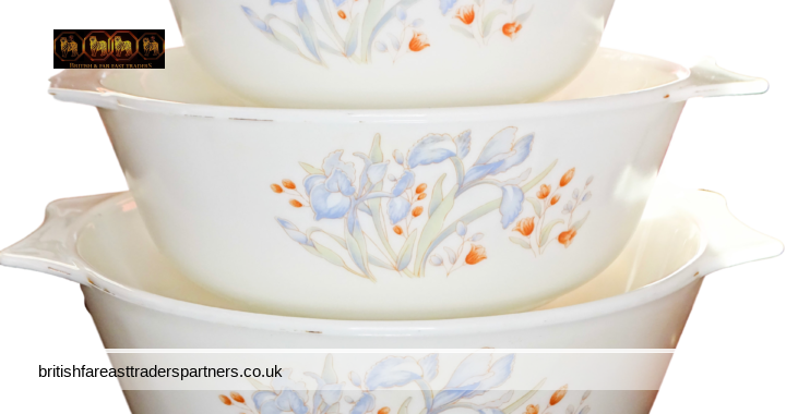 VINTAGE PYREX Set / LOT of 3 Milky White Glass Oven Casserole Dishes Blue Irises & Florals Made in England