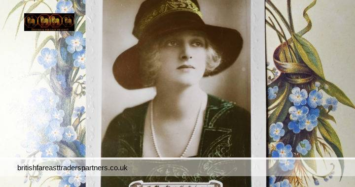 VINTAGE A GLAD NEW YEAR ROTARY PHOTO REAL PHOTO POSTCARD Marked XC 32LE Hand-Tinted Woman English Ivy Embossed Border