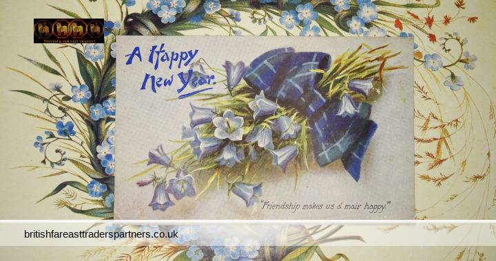 """VINTAGE By Royal Appointment Raphael Tuck & Sons ART PUBLISHERS FOR THEIR MAJESTIES THE KING AND QUEEN Postcard A Happy New Year ODETTE  Postcard No. 9609 """"FOR AULD LANG SYNE"""" Printed in England"""