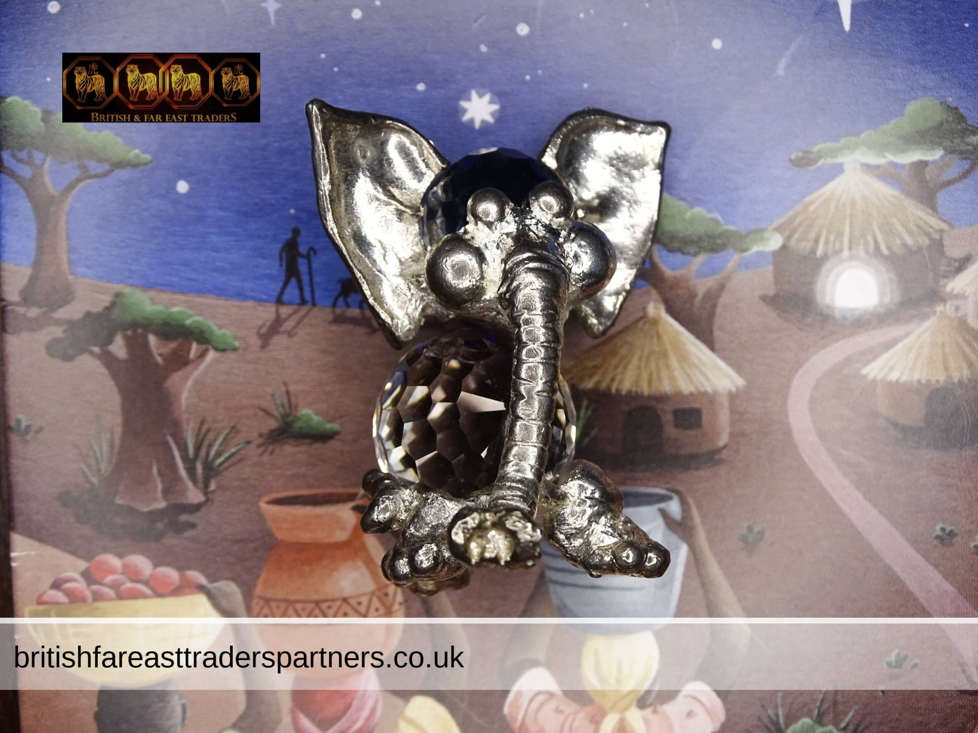 VINTAGE FIREBALL Crystal Jelly Belly Elephant Silver Tone Pewter Ornament / PAPERWEIGHT VGC