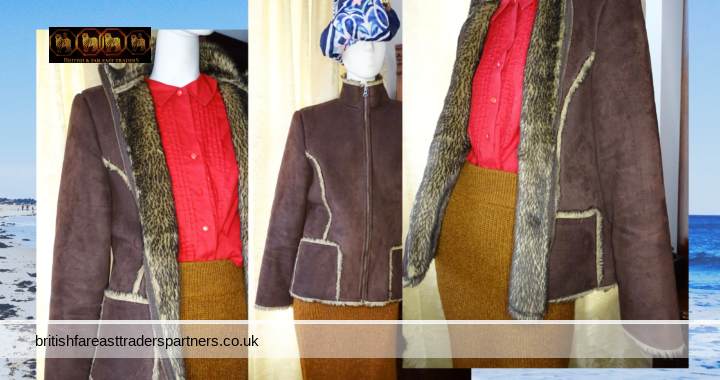 Ladies' GEORGE Suede Style 100% Polyester Lined CHOCOLATE Colour OUTDOORS JACKET UK 16 / EUR 44