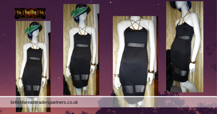 MISSGUIDED UK Black Strappy Cross Back SHEER Panels PARTY COCKTAIL Mini Dress Pullover UK 10 / EU 38 / US 6 / AUS 10
