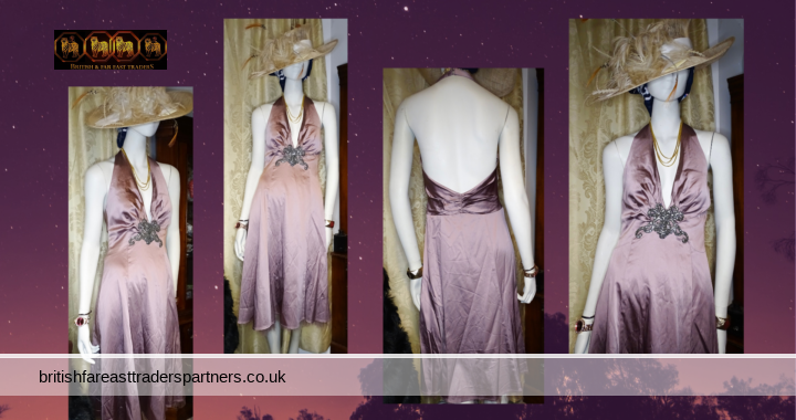 SPOTLIGHT By WAREHOUSE Wine / Grapes Colour Satin Halter Neck Party Cocktail  GALA / FORMAL / RACES/ OCCASION Dress UK 12