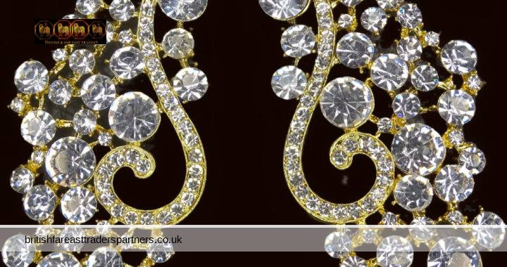 LADIES' WOMEN'S VINTAGE GLAMOUR GOLD TONE Crystal | Rhinestone CHANDELIER LUXURY Long Drop Stud Occassion EARRINGS COSTUME JEWELLRY  PROM | WEDDING | PARTY | FORMAL