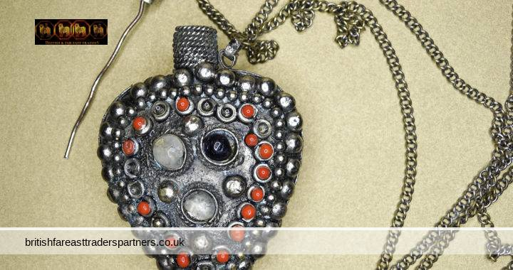 ANTIQUE SILVER Perfume SCENT Bottle / Flask HEART Shaped Pendant Chatelaine Necklace with STOPPER & DABBER + RED & SILVER BEADS & Clear + Coloured Cabochons