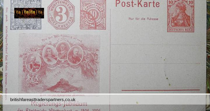 ANTIQUE 1806-1906 100 Years JUBILEE of GOVERNMENT Of The Kingdom of Wurttemberg GERMANY Postcard