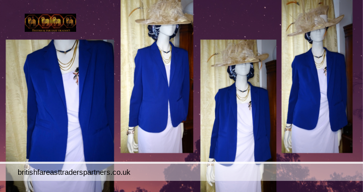 M&S ROYAL BLUE Tailored Ladies Blazer Dress Jacket Wedding Races Occasion Casual Holiday
