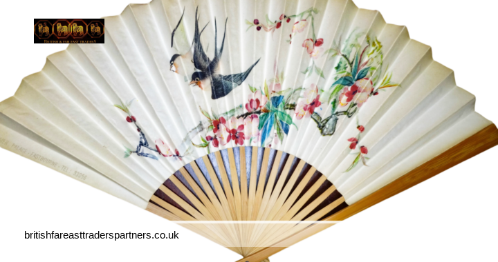 OLD CHINESE ORIENTAL ASIAN SPRINGTIME Birds & Blossom Eastbourne Summer Palace Souvenir NOSTALGIA COLLECTABLE Handheld Paper Fan