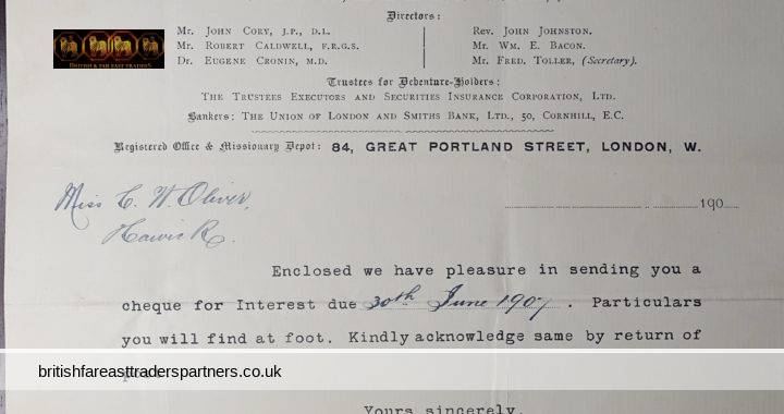 ANTIQUE 1907 The Industrial Missions Aid Society 84 GREAT PORTLAND STREET LONDON W Letter Regarding Interest due 30th June 1907 RESEARCH / COLLECTIBLES / EPHEMERA / DOCUMENTS