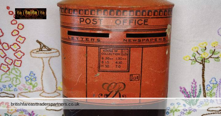 VINTAGE GR George Rex  King George V Red Oval POST OFFICE Chad Valley HARBORNE COLLECTABLE Money Tin BOX