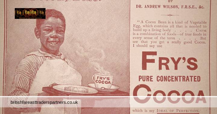 """ANTIQUE April 1899 FRY'S Pure Concentrated Cocoa Wide World Magazine Advert """"Cocoa Sah"""" From  A Lecture on COCOA Dr ANDREW WILSON"""