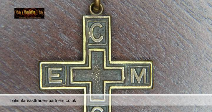 """VINTAGE CEMS """"All In One"""" Church Of England Men's Society Medal Pendant BRONZE Cross"""