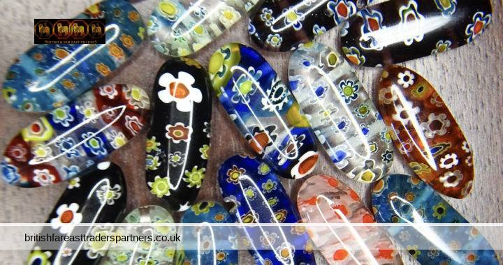 VINTAGE Crafters Lot of 17 Colourful FLORALS Capsule 2 Hole MILLEFIORI Glass Beads CRAFTING JEWELLERY MAKING