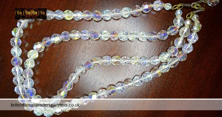 VINTAGE 1950s MID- CENTURY AUSTRIAN CRYSTALS Faceted Glass Beads 2 Strands Aurora Borealis Necklace