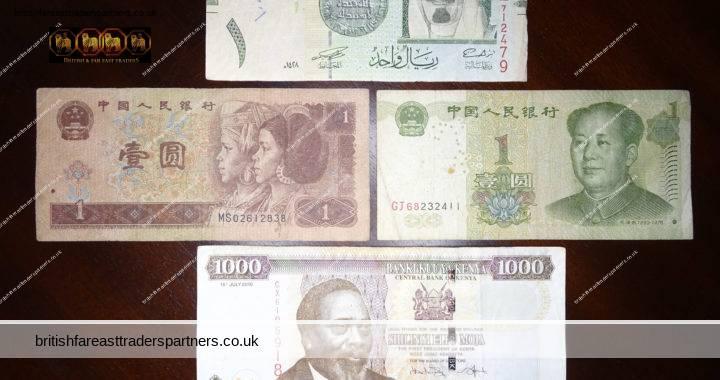 Lot of 4 FOREIGN CURRENCIES WORLD Money BANKNOTES 1996 1999 China  YUAN 2007 Saudi Arabia RIYAL 2010 Kenya SHILLING