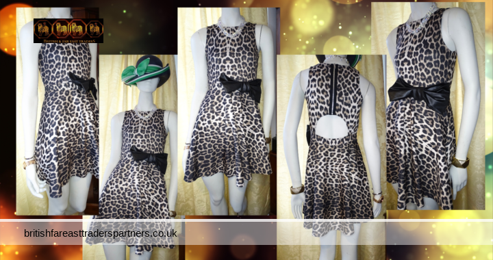 Ladies Women's QUIZ Leopard ANIMAL Print BIG BLACK Bow Back Cutout Skater Fit & Flare DATE Night Party Cocktail Going Out Dress UK 10 / EURO 38