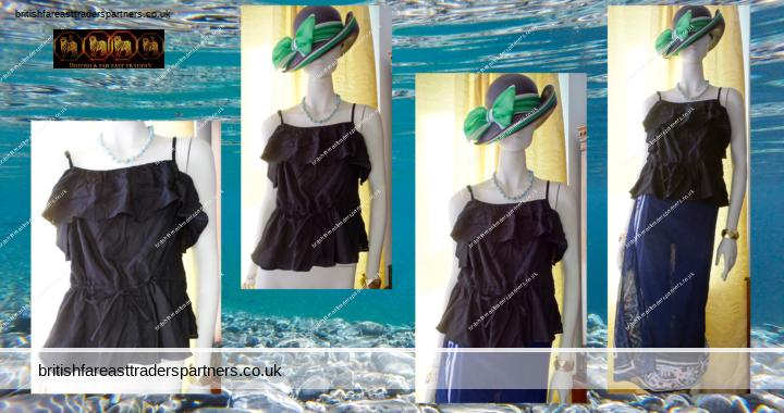 Ladies' Women's BLACK ASOS Frilly PEPLUM Drawstring Waist Cami TOP SPRING / SUMMER UK 10 / EU 38 / US 6 BNWT